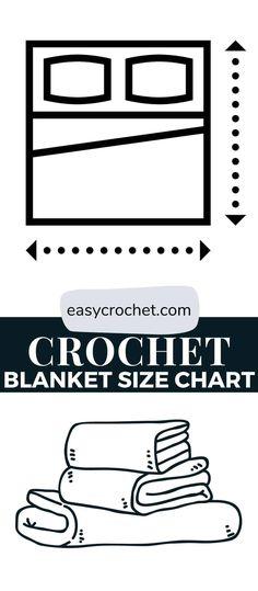 crochet blanket size chart Crochet Hook Sizes Chart, Crochet Throw Pattern, Crochet Baby Blanket Free Pattern, Easy Crochet Blanket, Crotchet Patterns, Afghan Crochet Patterns, Crochet Chart, Size Chart, Crochet Blankets