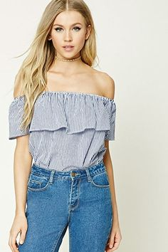 A woven bodysuit featuring a pinstripe pattern, off-the-shoulder design, a ruffled flounce layer, short sleeves, and a stretch-knit bottom with a snap-button closure.