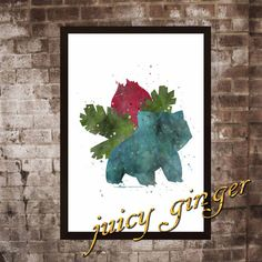 Pokemon Ivysaur Poster Anime Watercolor Home Decor by juicyginger