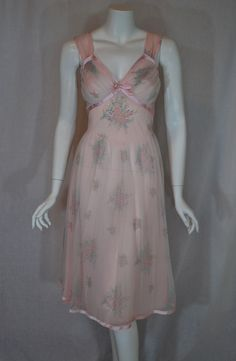 1950s Gotham Gold Stripe Pink Nightgown | This would make a great dress with an opaque satin underlayer