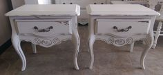 """Here are the two nightstands that match chest of drawers I just posted. What do you think? The dimensions are 26"""" L, 17"""" W, 25"""" H. SOLD!! for $225 https://www.pinterest.com/shabbychictexas/my-shabby-chic-nightstands/"""