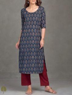 Indigo-Madder Ajrak Printed Cotton Kurta