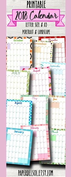 Ooohhh!  Pretty printable calendar pages for your planner! Monthly 2018 Calendar A5, Printable Calendar, 2018 Printable Calendars, Planner Pages, Monthly Calendars Filofax Inserts A5 Instant Download  #ad #afflink #printable #calendar