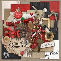 Digital Scrapbook Kit - Classical Romance- over 100 items. $4.49, via Etsy.