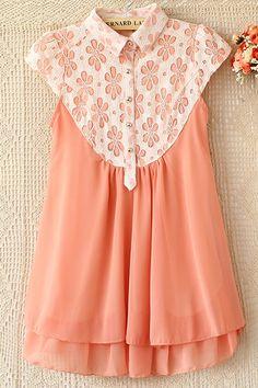 Sweet Floral Detailed Lace Yoke Shirt - OASAP.com