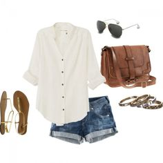 jean shorts, loose button down, and browns | socialbliss.com