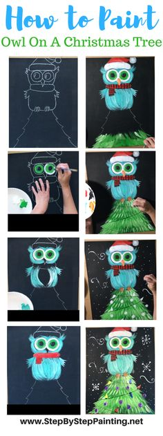 Now available! FULL tutorial!! Owl On A Christmas Tree - Tracie's Acrylic Canvas Tutorials #ChristmasCrafts #BlackCanvasPaintings #StepByStepPainting