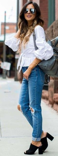 #summer #trending #outfits |   Black and White + Denim