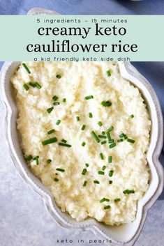 EASY creamy cauliflower rice from Keto in Pearls will become your new go-to side dish! This low carb cauliflower rice has only five ingredients, and only 15 minutes is needed to make this easy dish. It's also kid-friendly! If you're looking for an easy, keto-friendly side dish, try out this recipe! It's so delicious, and your family will love it! Make it as a side for your next dinner. #cauliflowerrice #ketocauliflowerrice #ketodinner #sides #lowcarb #sidedishes #dinnerrecipes…