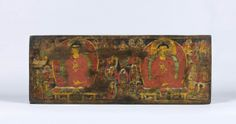 Manuscript cover with scenes from the life of the Buddha, Tibet, Carved, painted and gilded wood, 28 x 73 x 3 cm (11 x 28 ¾ x 1 ¼ in), 12th century