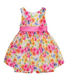 White & Pink Floral Rosette Dress & Bloomers - Infant by American Princess #zulily #zulilyfinds