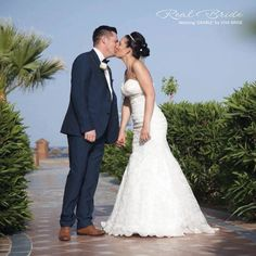 What a gorgeous photo of our real bride wearing 'Grable' by Viva Bride  Doesn't she look stunning?   www.wed2b.co.uk