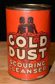 Vintage Black Americana Gold Dust Scouring Cleanser Tin Unopened with from dragonslairantiques on Ruby Lane