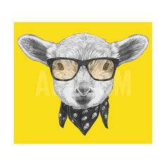 Portrait of Lamb with Glasses and Scarf. Hand Drawn Illustration. Art Print by victoria_novak at Art.com