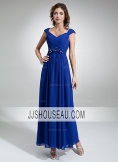 Ankle-Length A-Line/Princess Royal Blue Cap Straps Ruffle Beading Flower(s) Evening Dress Evening Dress