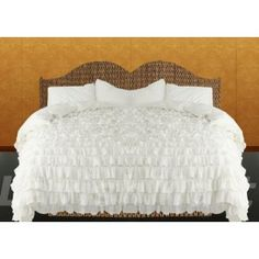 800 TC Ultra Soft Silky Fully Made by Egyptian cotton Bedding Ruffle Duvet Set UK king size White solid: Amazon.co.uk: Kitchen & Home