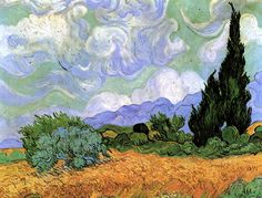 Vincent Willem van Gogh ( 1853 - 1890 ). Wheat Field with Cypresses