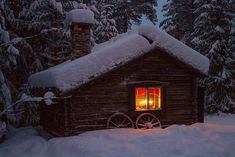 Nope. Snow Bound Cabin. There is no reason that there should be snow on that chimney!