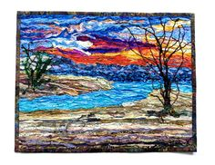 River Sunset Art Quilt, Evening Waterscape, Silk Wall Hanging, Mouth of the River, Original Fiber Art 13 X 17 inches, Fine Art Wall Hanging