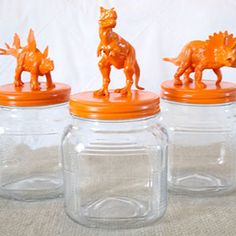 These fun glass jars with dinosaur lids would be easy to make.  Just glue on any toys you want and then spray paint!  Party, kid's room...