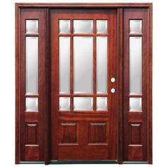 Pacific Entries Craftsman 9 Lite Stained Mahogany Wood Entry Door with 14 in. Sidelites-M39ML413 at The Home Depot