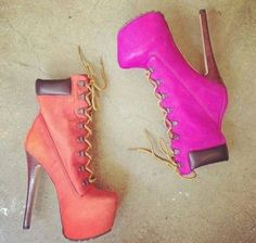 shoes boots high heels pink timberland heels