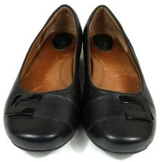 Clarks  Artisan Shoes Womens Size 7.5 W Wide Black Leather Loafers #Clarks #LoafersMoccasins