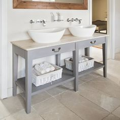 Rustic grey and cream bathroom | bathroom storage ideas | PHOTO GALLERY | Ideal Home | housetohome.co.uk