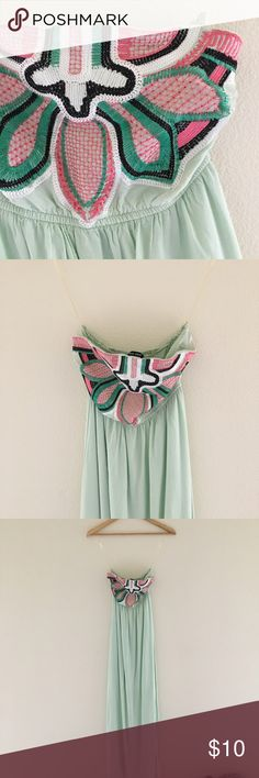 "Mint Maxi Tube Top Dress 🍭 Cute mint strapless tube top dress. Pretty pink/green/black Aztec detailing at the chest. Works best for a larger chest. Lined to a mini dress (see photo 6). Worn/washed once. ✨Some pilling at hips + a few loose threads in the embroidery. Priced to reflect imperfections.  🍏Material:  100% Rayon 🍏Measurements:  Chest - 12"" when not stretched Length - 27"" lining 49"" shell 🍭🍬Feel free to make an offer. No trades please. From a smoke free home.🍬🍭 West 36th…"