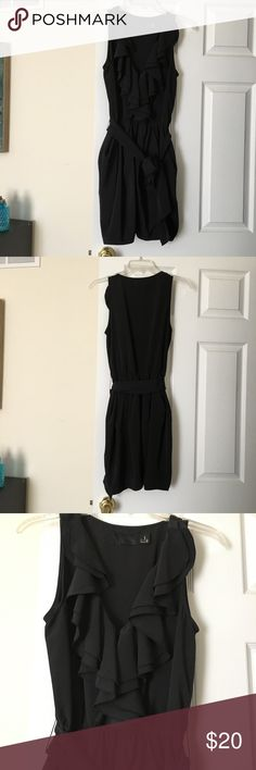 H&M Gorgeous Black Ruffle Tie Dress, Size 4 Gorgeous H&M ruffle v-neck and tie at the waist dress. Size 4. Chiffon material. Comes from a smoke free home! H&M Dresses