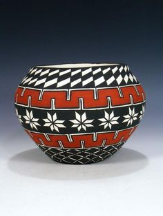 Traditional Acoma pottery is made using a slate-like clay found within the hills surrounding the Pueblo. When fired using traditional methods, this clay allo. Worli Painting, Bottle Painting, Bottle Art, Ceramic Painting, Pottery Painting Designs, Pottery Designs, Paint Designs, Pottery Bowls, Ceramic Pottery