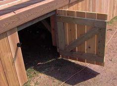 An open gate in a deck skirt showing gate construction detail.