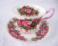 Cup And Saucer Royal Albert Rosa Fragrance Series Pink And White 1950s