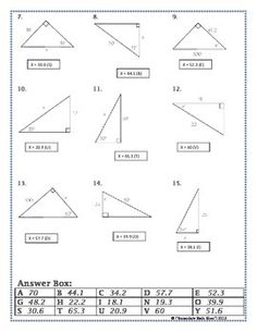 Right Triangles  Sin Cos Tan Soh Cah Toa Trig Riddle Practice