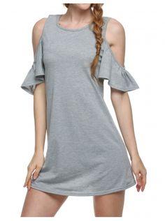 Gray Mujeres mariposa manga algodón lindo correa de hombro chaleco vestido más size