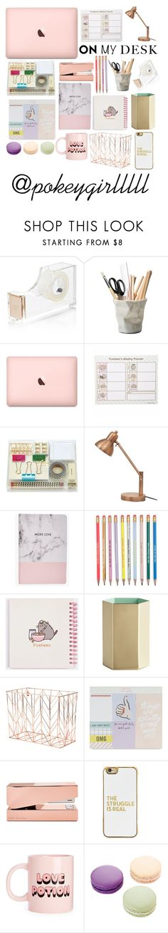 """Schoolzies: What's On Me Desk"" by pokeygirlllll on Polyvore featuring interior, interiors, interior design, home, home decor, interior decorating, Kate Spade, ESSEY, Pusheen and Boohoo"