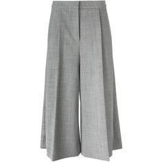Stella McCartney pleated culottes ($1,270) ❤ liked on Polyvore featuring shorts, pants, grey, culottes shorts, gray high waisted shorts, stella mccartney, highwaisted shorts and gray shorts