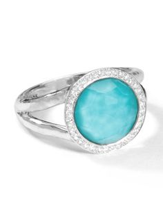 Stella Mini Lollipop Ring in Turquoise Doublet with Diamonds, 0.15ctw by Ippolita at Neiman Marcus.