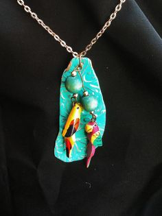 Colorful Wooded Parrots Necklace Turquoise by VintageMemoryJewelry, $22.00