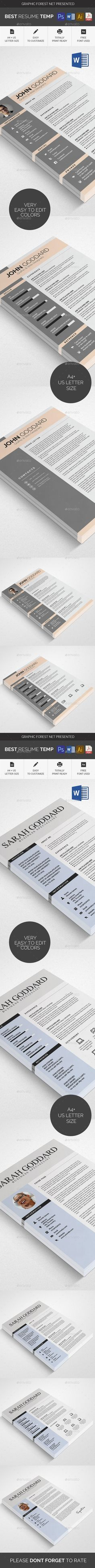 Resume Template Bundle - PSD, Vector EPS, AI Illustrator, MS Word