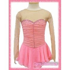 New graceful Ice figure skating dress  168-1A -inexpensive pink beaded long sleeves ice skating dress