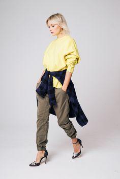 Yellow sweatshirt with Charlotte Olympia Twilight Princess Heels