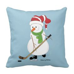 Hockey Snowman Christmas Pillow. Decorate your home for Christmas with a little bit of hockey Christmas.