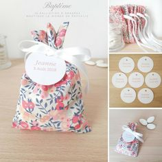 Ballotin à dragées Mariage et Baptême Tissu Liberty Wiltshire Sarah Kay, Baby Room, Creations, Gift Wrapping, Baby Shower, Diy, Wedding, Events, Couture