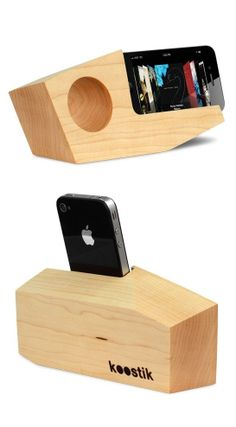 Wood iPhone Amplifier Speaker // passive amplification with no power source needed #product_design