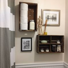 Bathroom. brown wooden floating shelves plus pictures placed on the cream wall. Completing Your House With Marvelous Bathroom Wall Shelves #ThinFloatingShelves