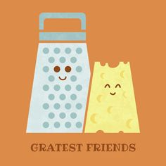 """""""Cheesy Friendship"""" by art print Teo Zirinis on Redbubble. Love this adorable pun for a kids' room. #puns"""