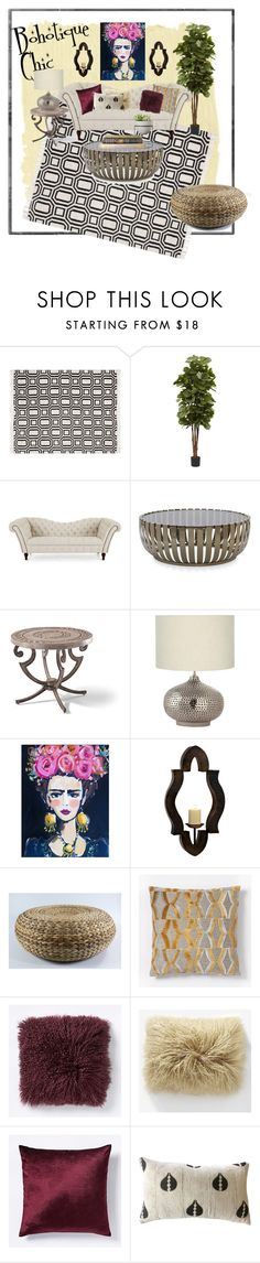 """Bohotique Chic"" by jadoreledecor on Polyvore featuring interior, interiors, interior design, home, home decor, interior decorating, Pottery Barn, Nearly Natural, Mitchell Gold + Bob Williams and Frontgate"