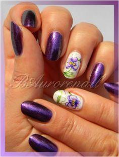 nail art aquarelle orchidée