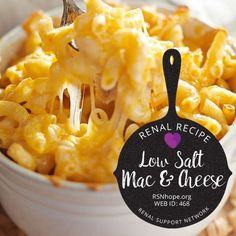 Low Salt Macaroni and Cheese Everyone's favorite comfort food is just as delicious without all the sodium. This low salt macaroni and cheese recipe is guaranteed to satisfy! Sodium Free Recipes, Salt Free Recipes, Low Potassium Recipes, Low Sodium Soup, No Sodium Foods, Low Sodium Diet, Low Sodium Meals, Low Sodium Desserts, Sodium Intake